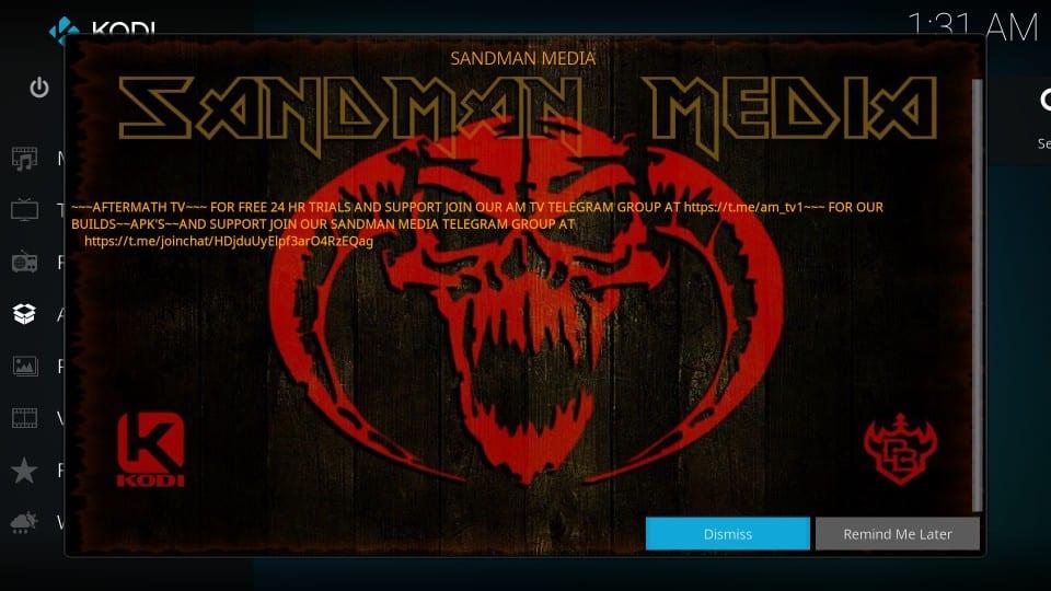 sandman kodi builds