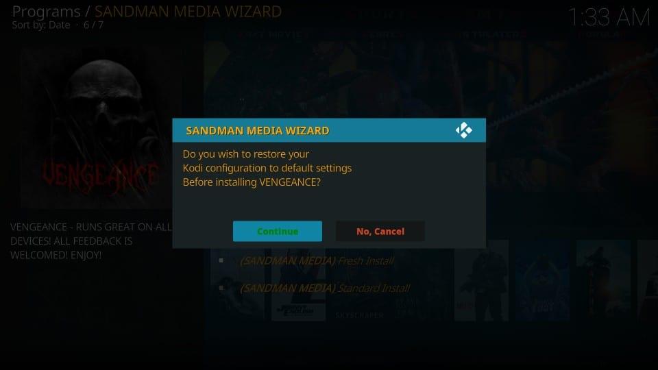 vengeance kodi build from sandman media