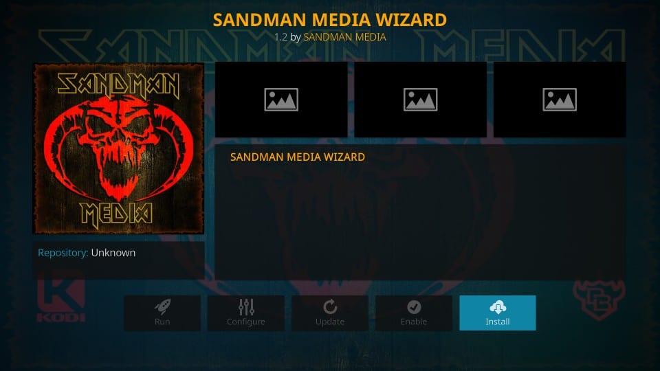 sandman media wizard installation
