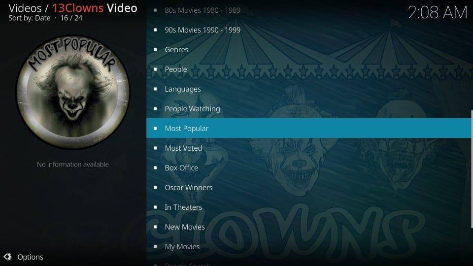 13 clowns video addon categories
