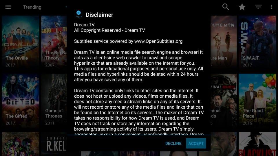 dream tv disclaimer