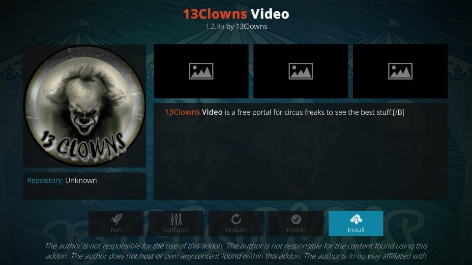 how to install 13clowns video addon on kodi