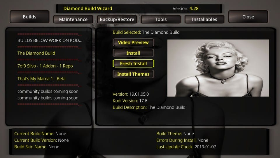 install diamond dust build on kodi