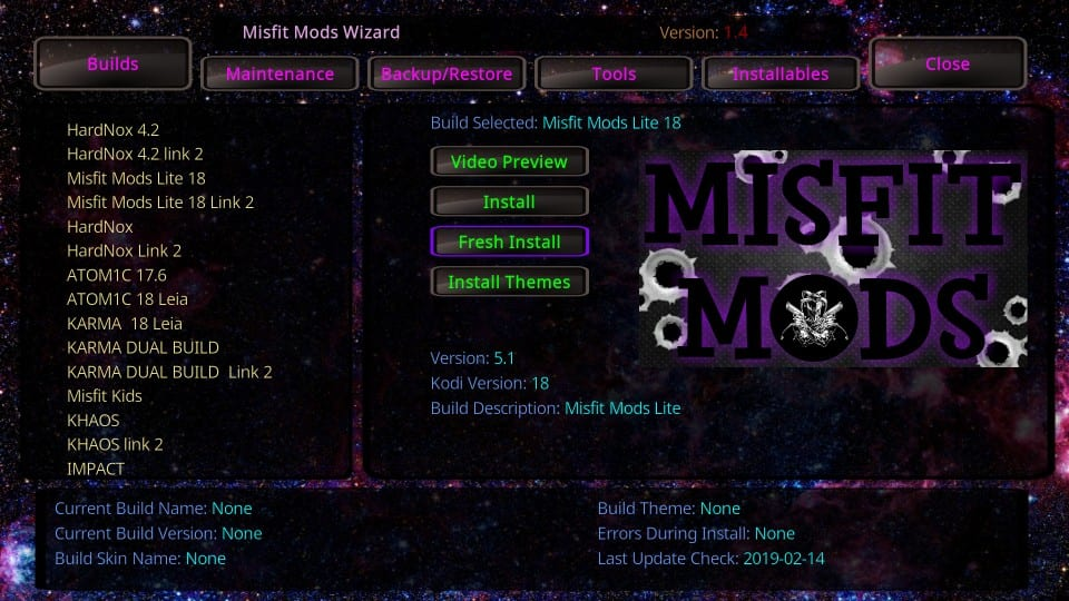 How to Install Misfit Mods Lite Build on Kodi 18 4 Under 5