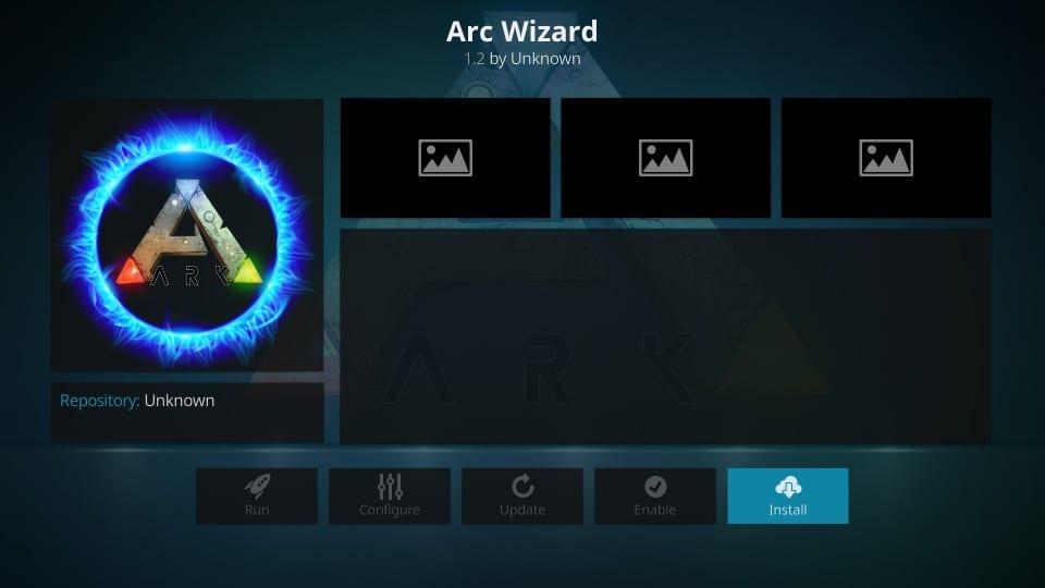 the arc wizard on kodi