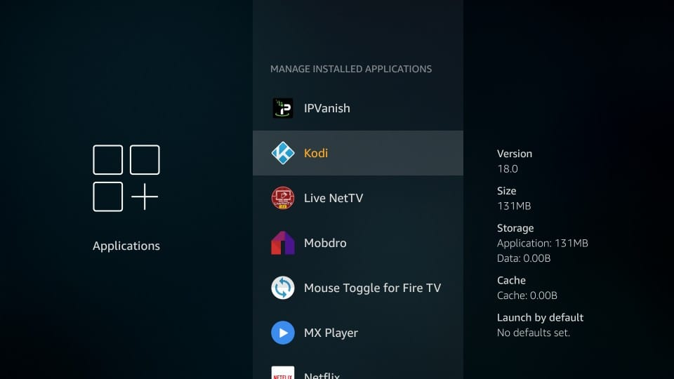 kodi in firestick settings