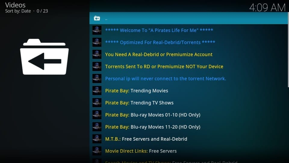 install a pirate's life for me on kodi