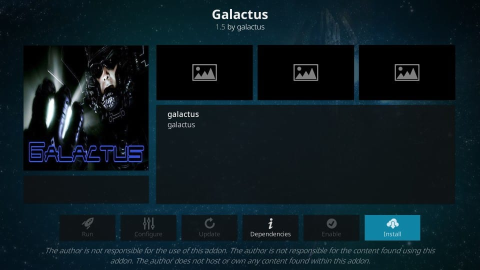 how to install galactus addon on kodi