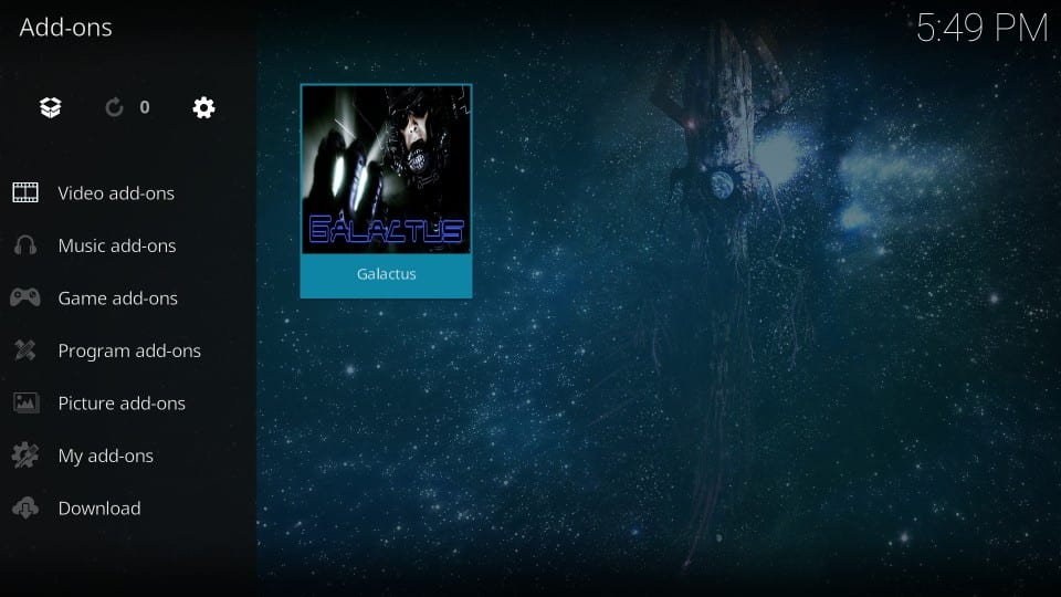 how to use galactus addon on kodi