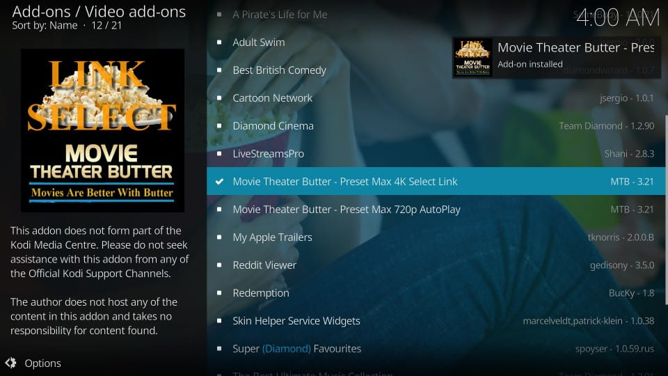 movie theater butter addon install
