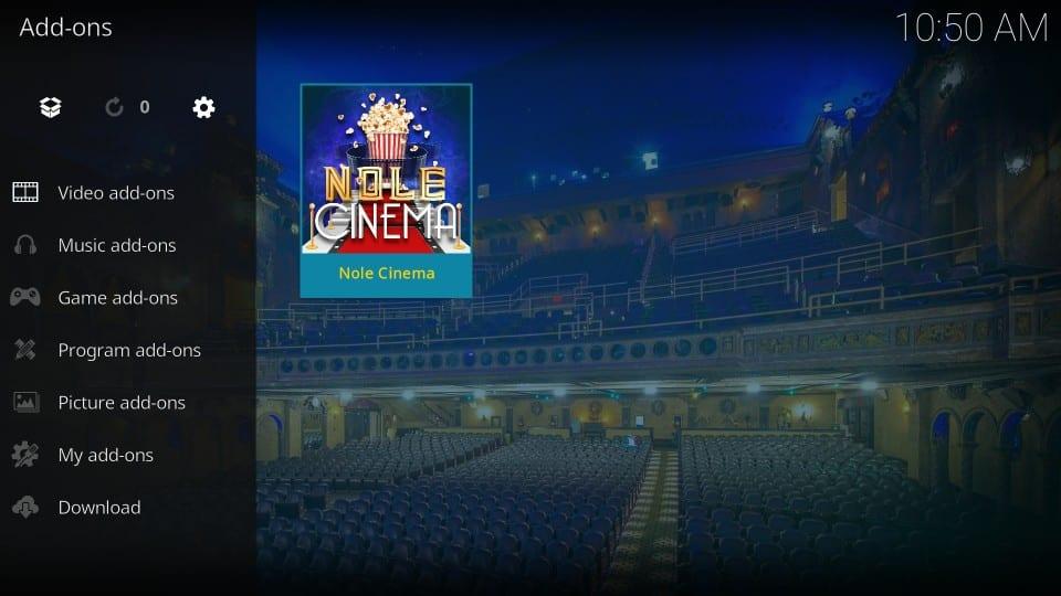 how to use nole cinema addon on kodi
