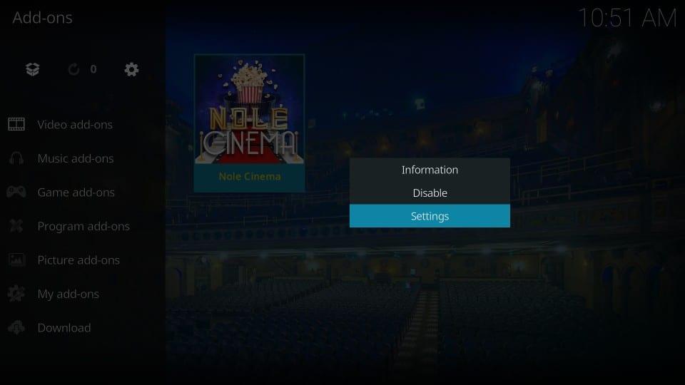 turn off meta data on nole cinema addon
