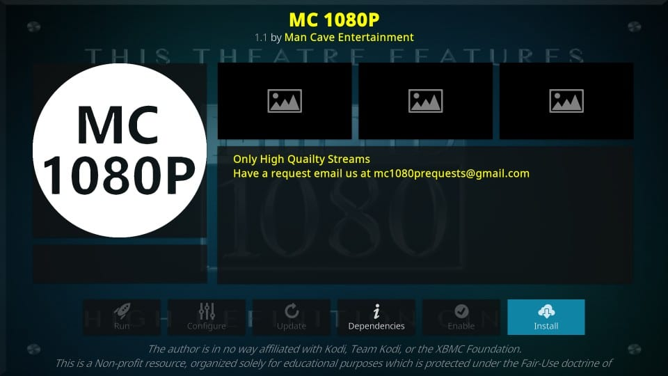 how to install mc 1080p kodi addon