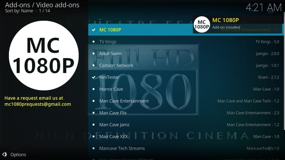 how to use mc 1080p addon on kodi