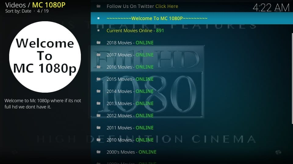 using mc 1080p kodi addon