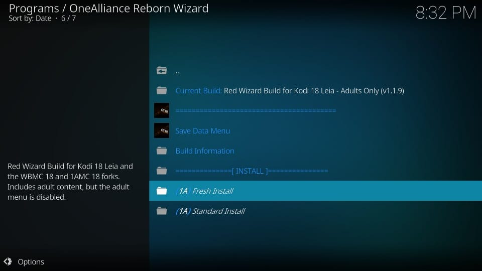 fresh install red wizard build on kodi