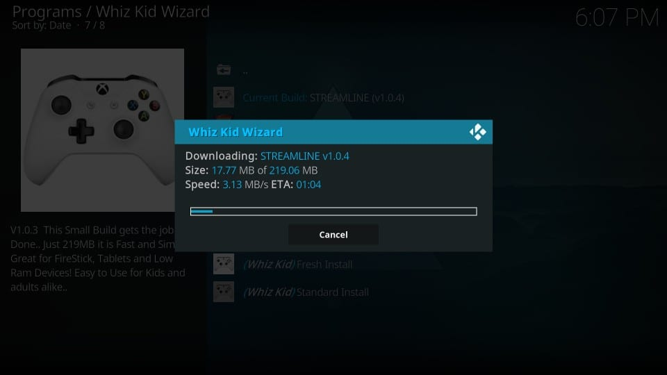 downloading streamline build on kodi