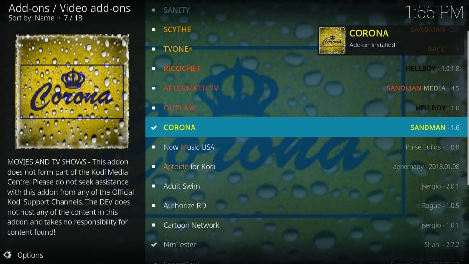 kodi corona