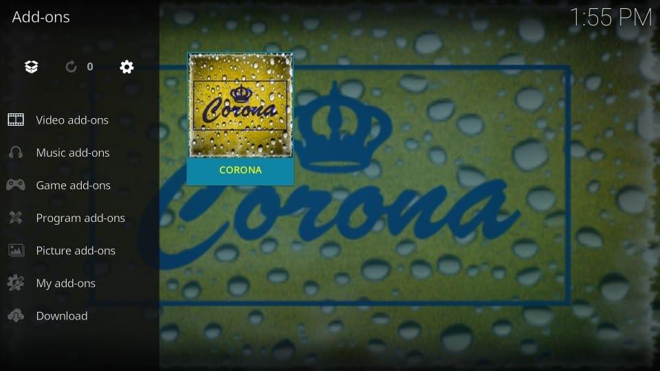 how to use corona addon on kodi