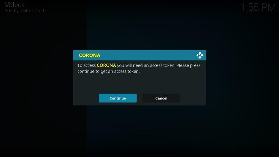 corona kodi addon