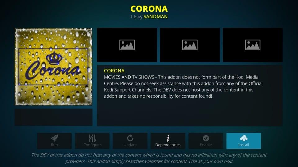 how to install corona addon on kodi