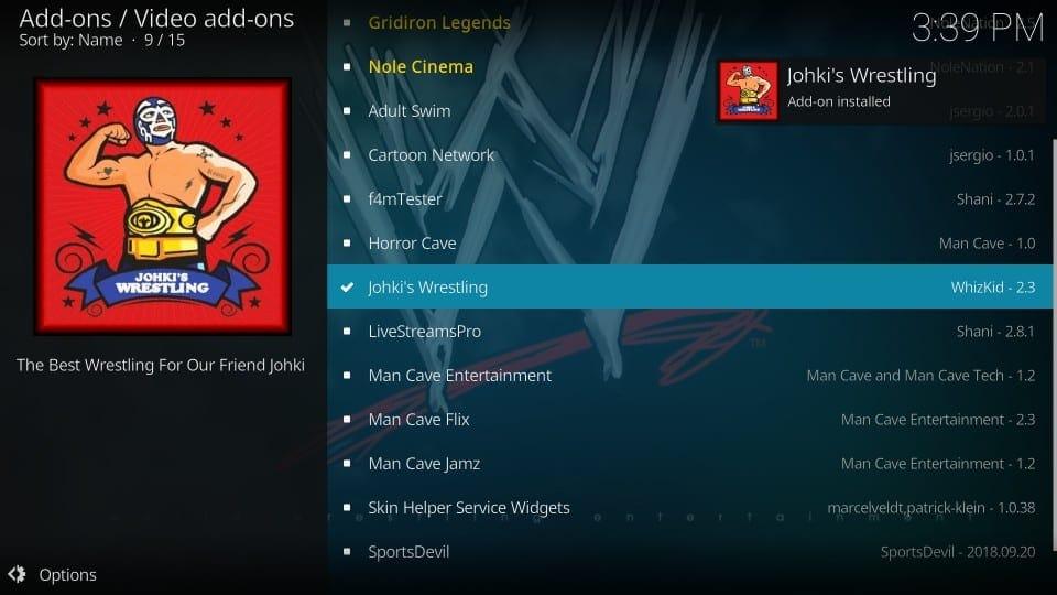johki's wrestling addon for kodi