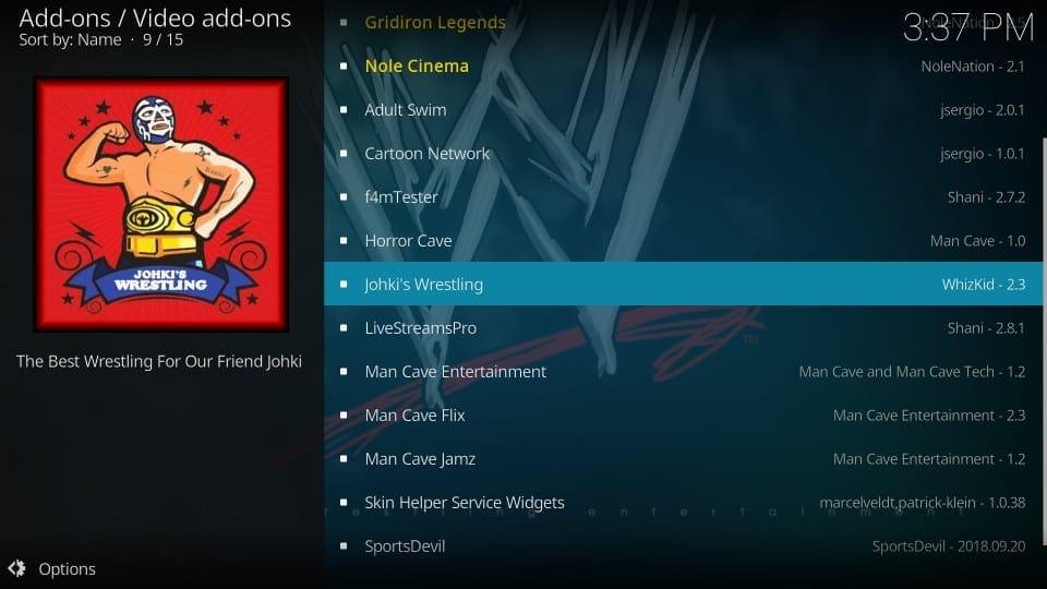 install johki's wrestling addon on kodi