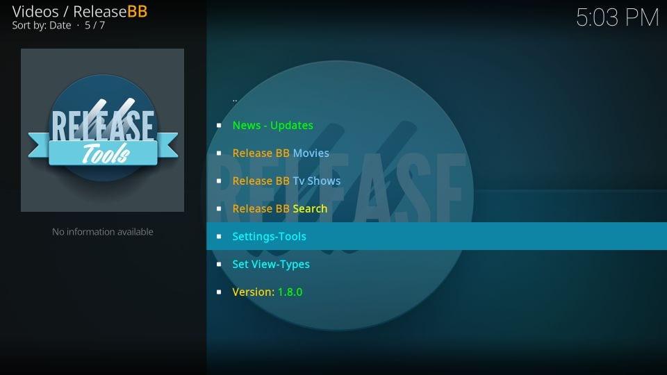 releasebb addon settings