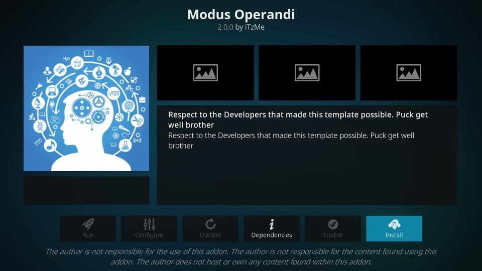how to install modus operandi kodi addon