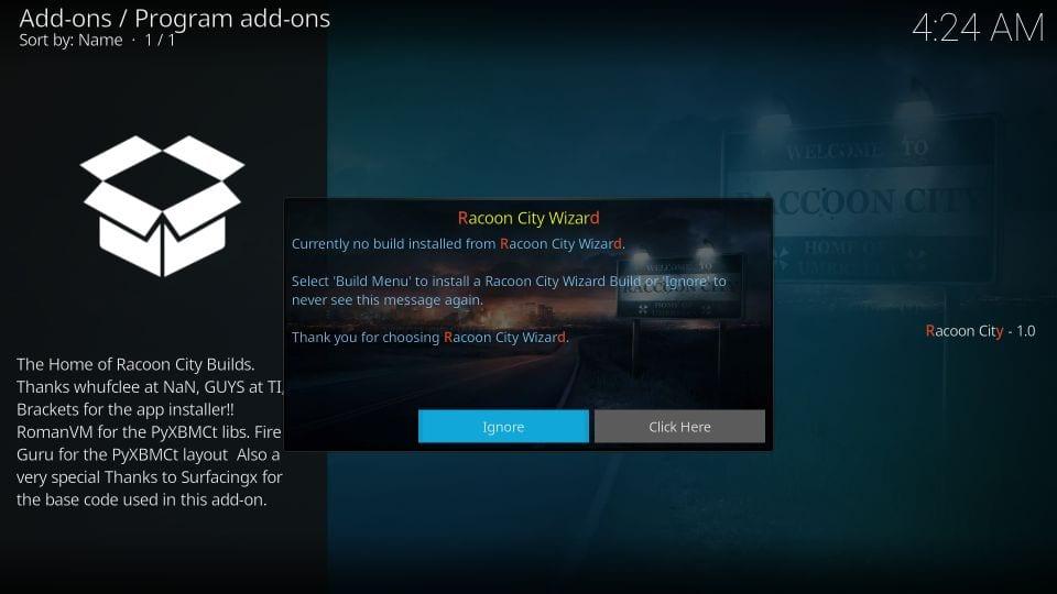 racoon city builds on kodi