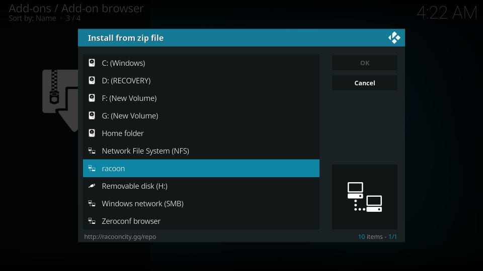steps to install racoon city kodi builds