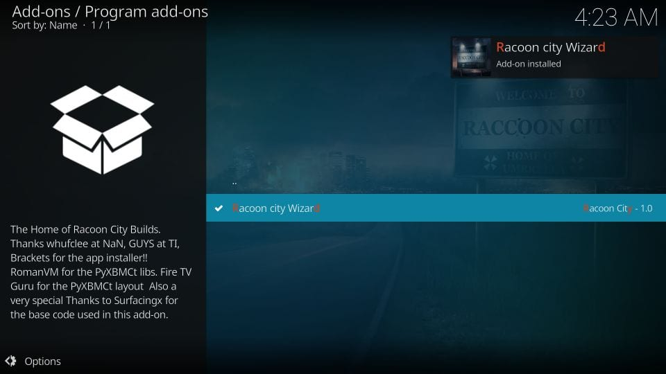 how to get racoon city builds on kodi