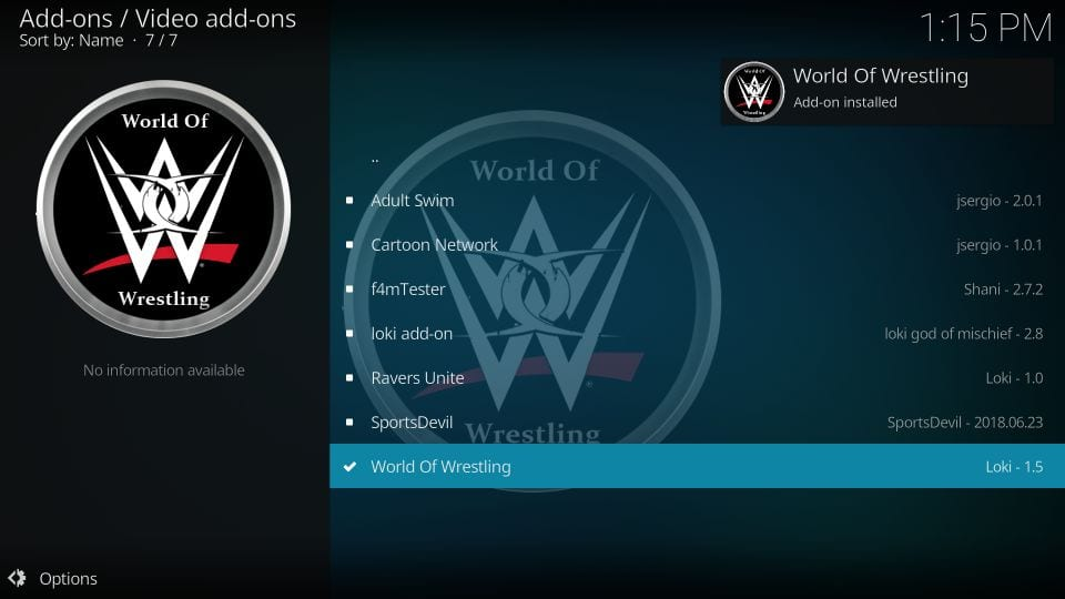 how to use world of wrestling addon