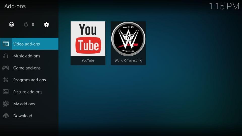 using world of wrestling addon on kodi