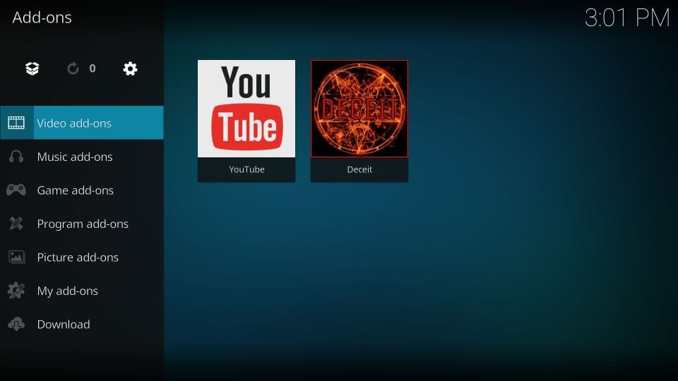 how to use deceit kodi addon