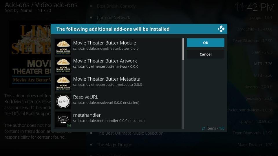 movie theater butter kodi leia addon