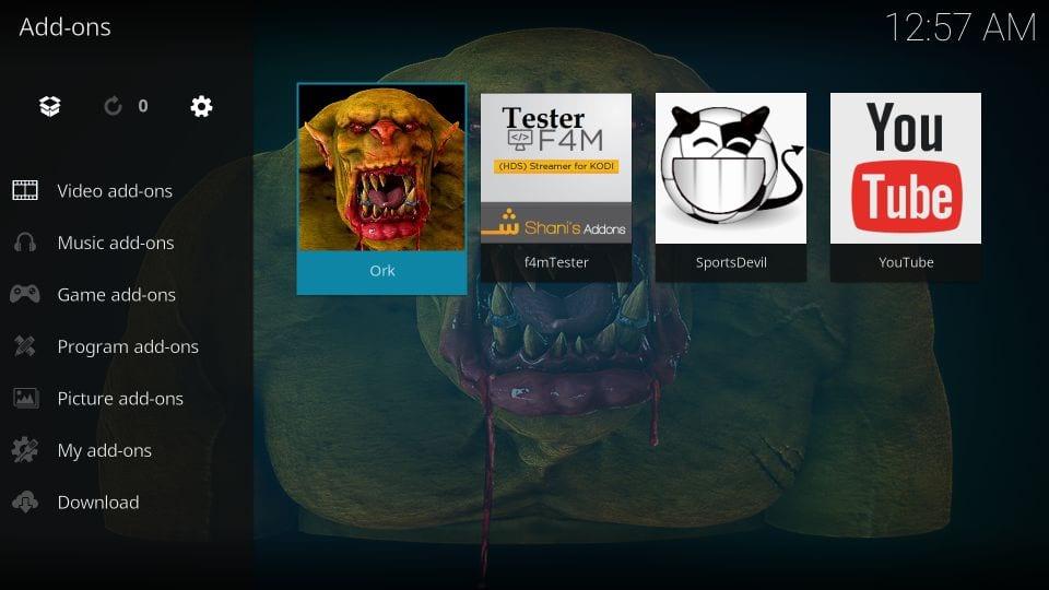 how to use ork addon on kodi