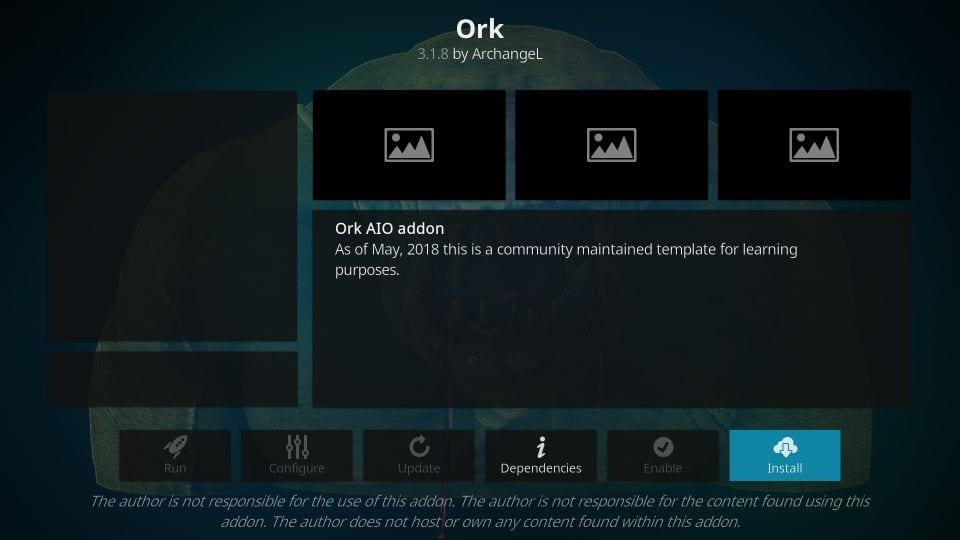 how to install ork kodi addon