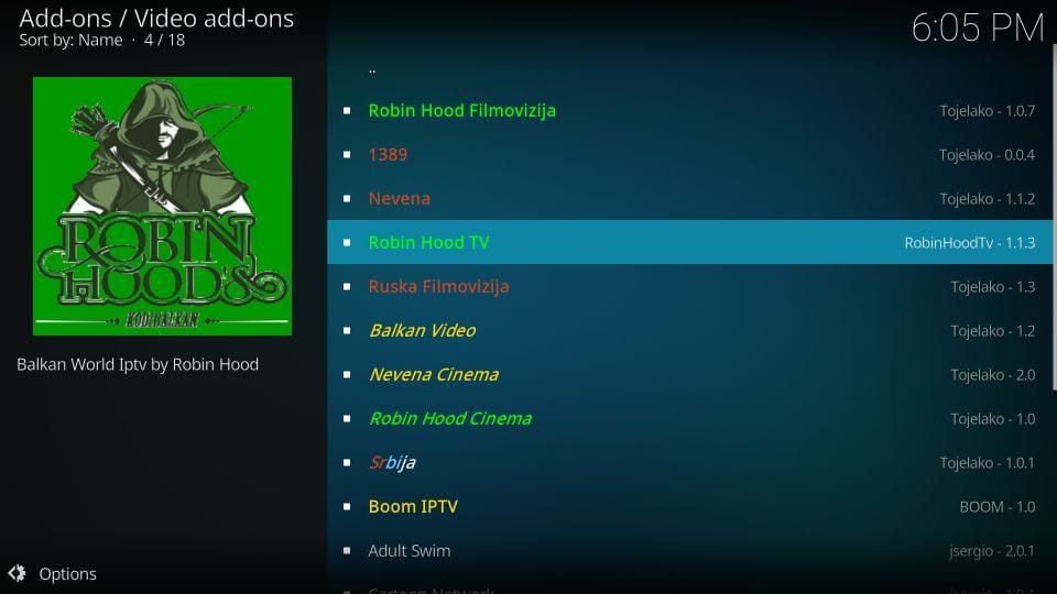 robin hood addon for kodi
