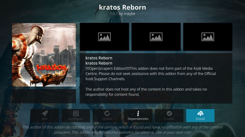 how to install the kratos reborn addon on kodi
