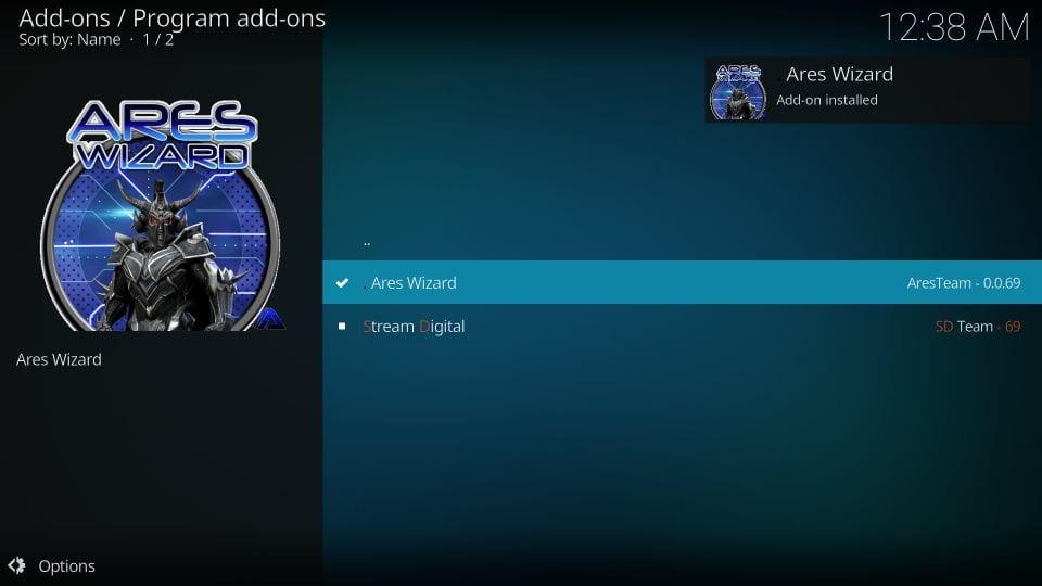 ares wizard kodi addon installed