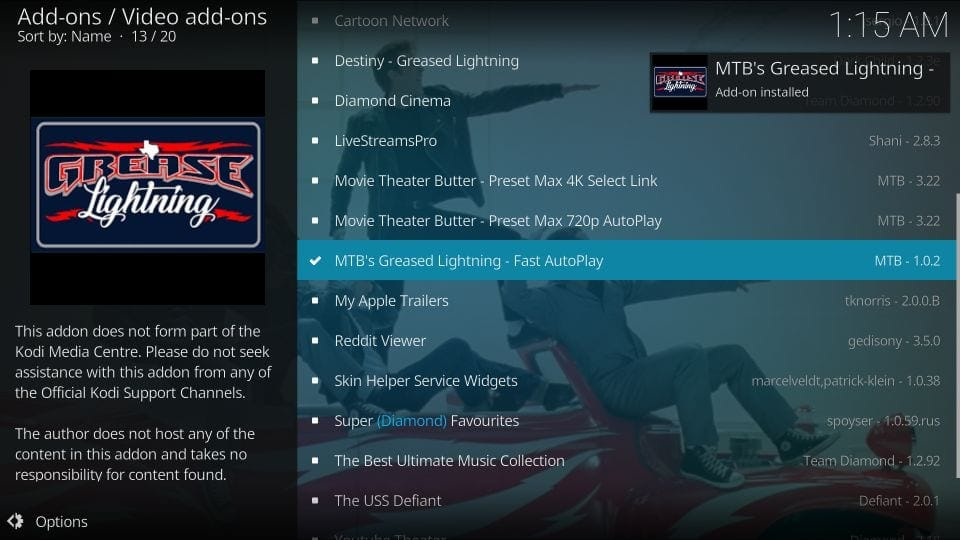 install mtb's grease lightning addon on kodi