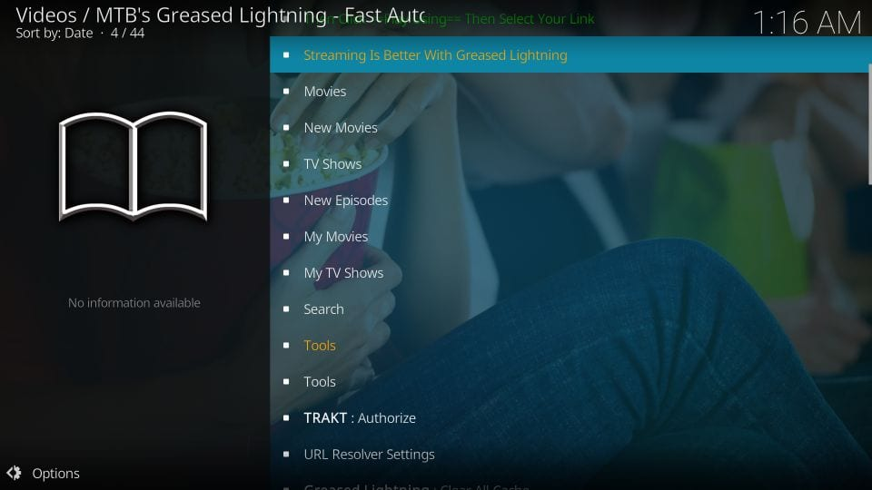 using mtbs grease lightning kodi addon