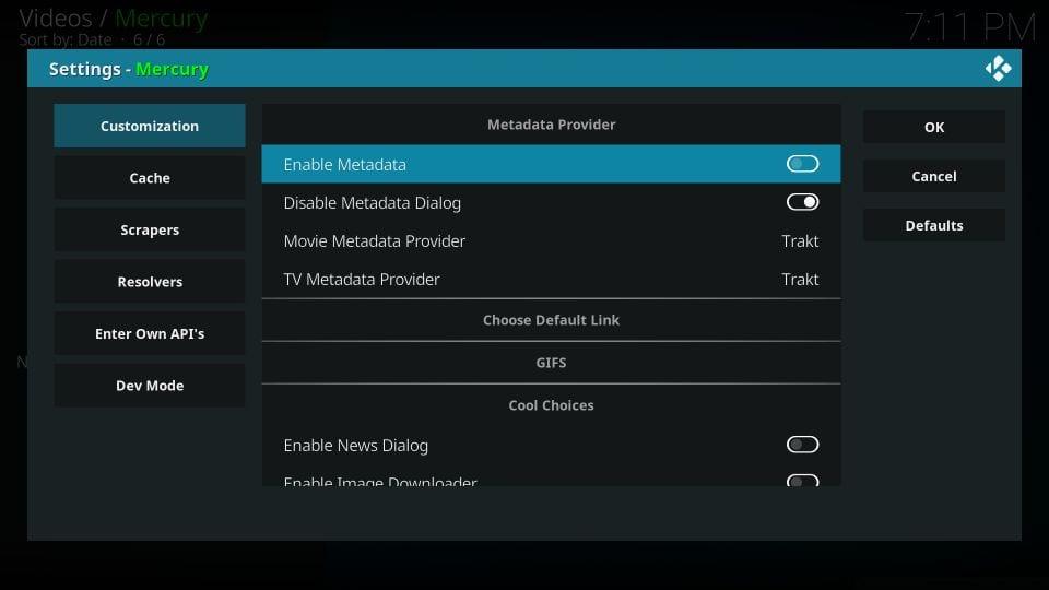 mercury kodi addon settings