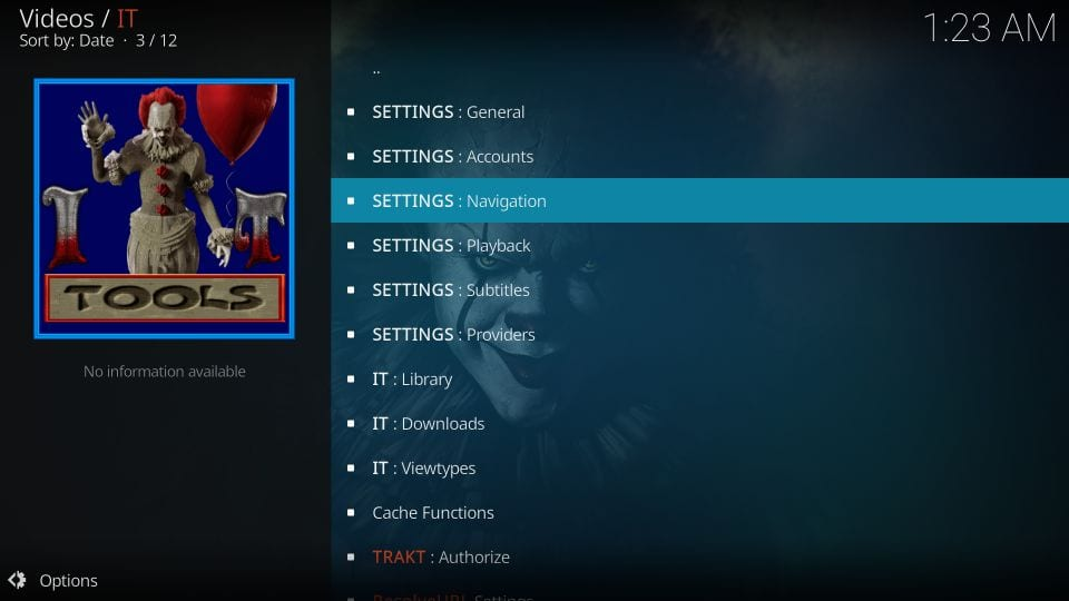 it kodi addons settings