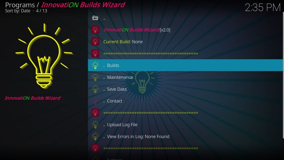 how to install innovation builds on kodi