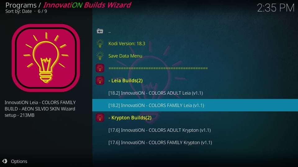 innovation colors family builds on kodi
