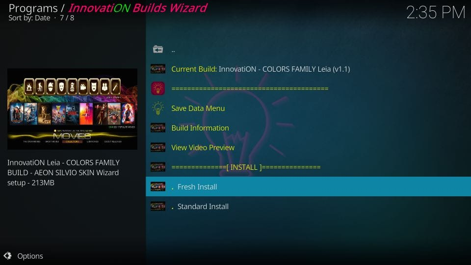 how to install innovation build colors family on kodi