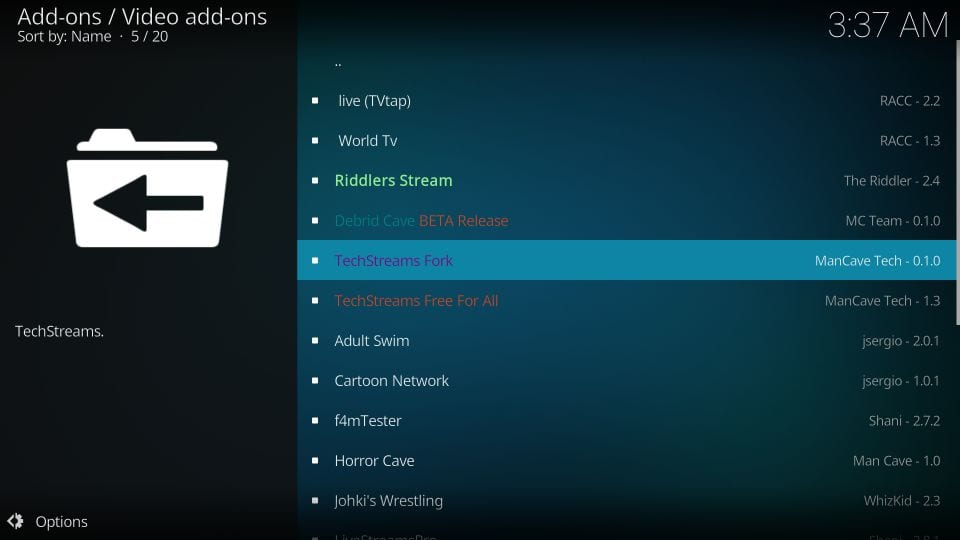how to install techstreams fork on kodi