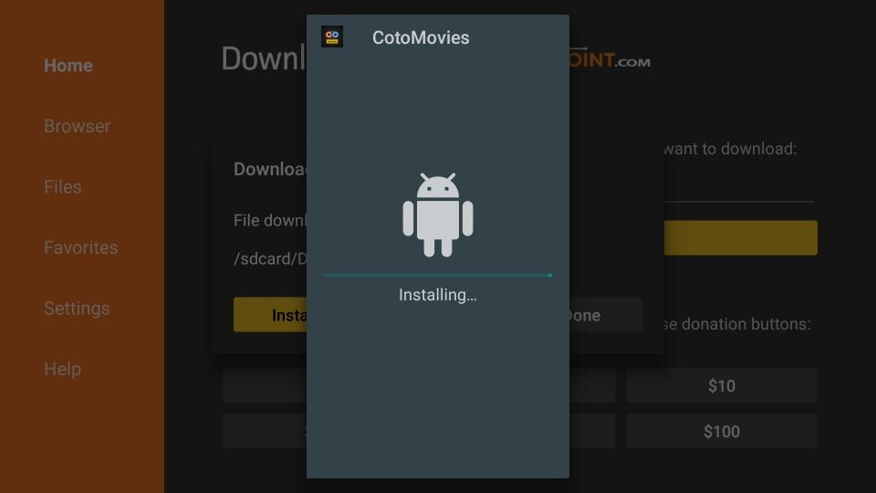 steps to install coto movies on firestick